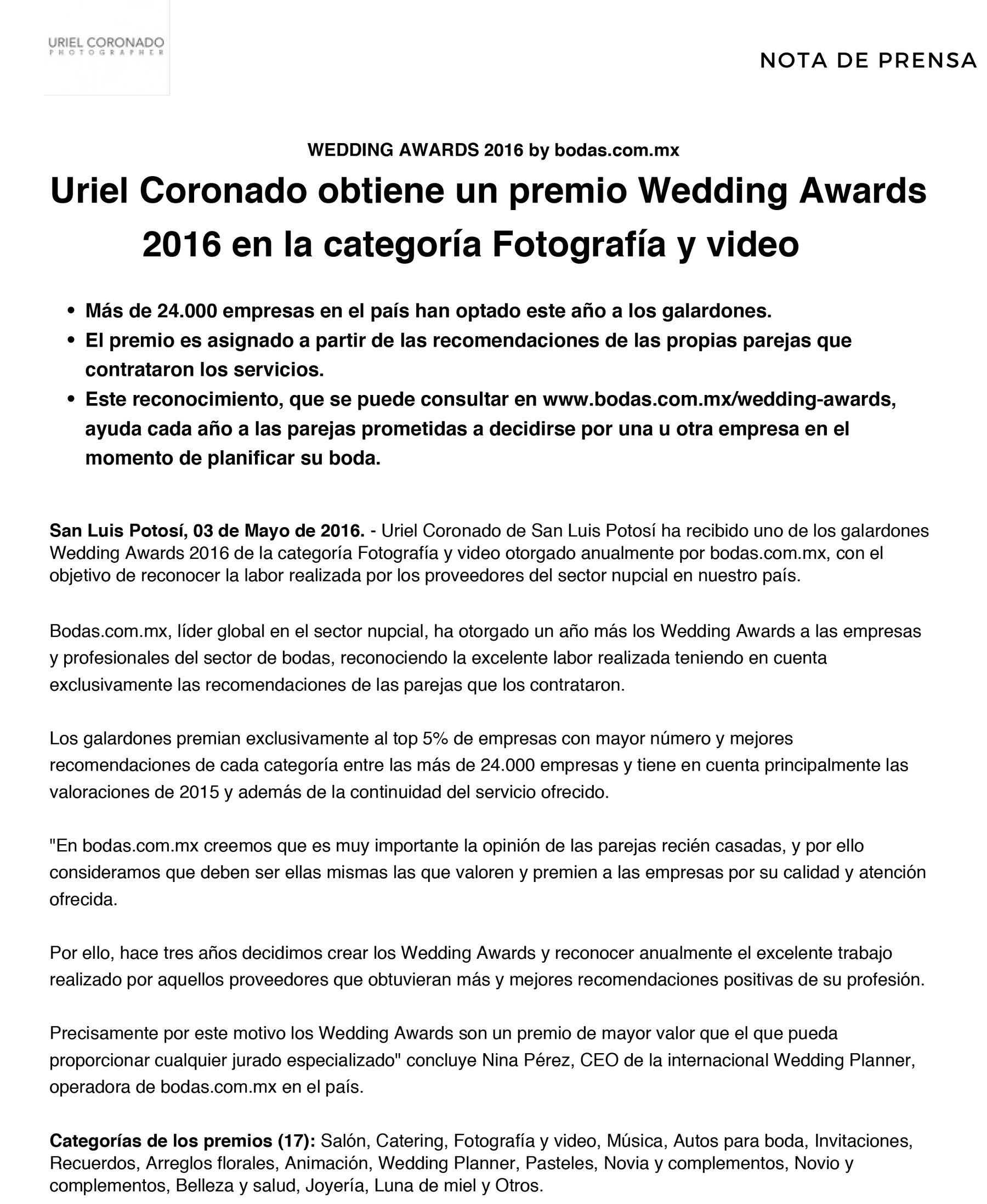 Wedding_Awards_2016_Nota_de_Prensa-1-Uriel-Coronado-San-Luis-Potosi
